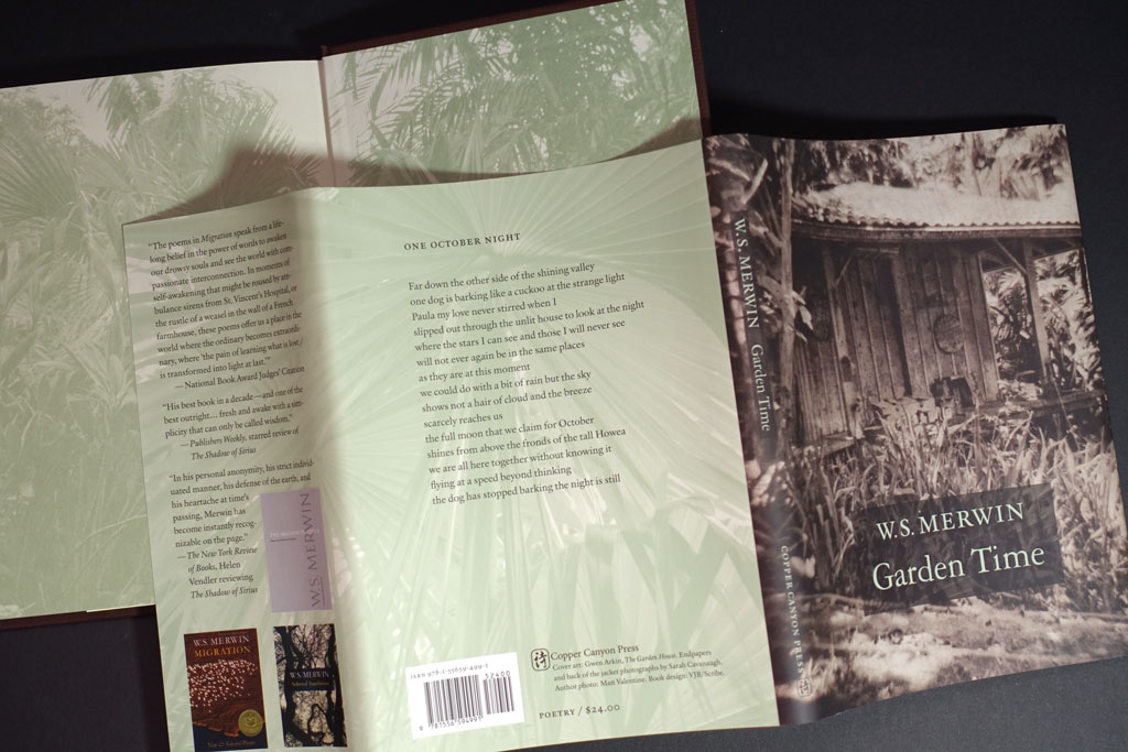 Design notes from Merwin's Garden Time (Copper Canyon Press)